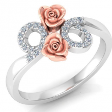 Gold and diamond ring designed and flowery