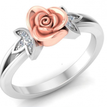 A gold and diamond ring designed with a flower