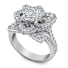 Flower ring with Half carat central diamond