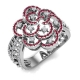 Diamond and Gemstone Flower Ring - Vintage Design