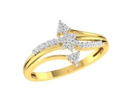 A delicate gold and diamond ring