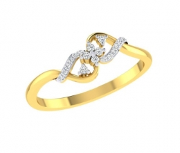 A delicate gold and diamond ring in a twist design