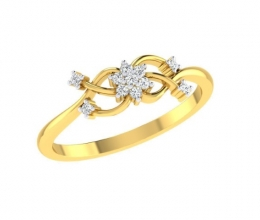 Gold and diamond ring in flower design