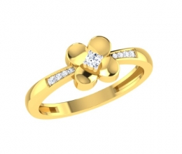 A diamond studded flower ring for a girl
