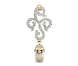 Diamond earrings with pearl