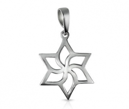 Star of David Pendant with Flower Design