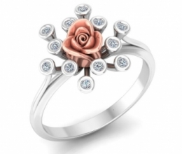 A unique gold and diamond ring with a flower