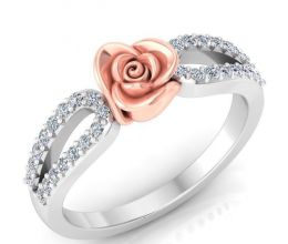 Classic gold and diamond ring with flower desig