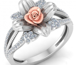 Gold and diamond ring in a vintage flower design