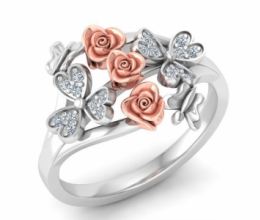 Gold and diamond ring in floral design
