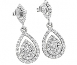 Drop-shaped diamond earrings are hanging