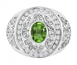 Large and impressive diamond ring - a central gemstone