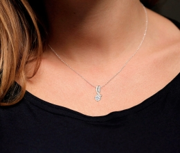 Solitaire black diamond pendant