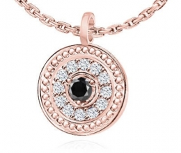 Diamond hollow pendant - central black diamond