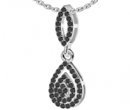 Black diamond pendant in drop design