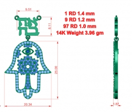 Hamsa pendant designed for woman