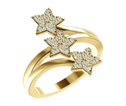 DIAMOND YELLOW GOLD STARS RING