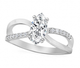 Designed engagement ring with marquise diamond