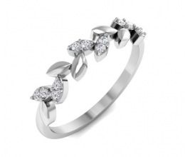 Diamond ring with a delicate leaf design