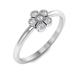 A delicate gold and diamond flower ring