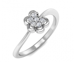 A delicate diamond studded flower ring
