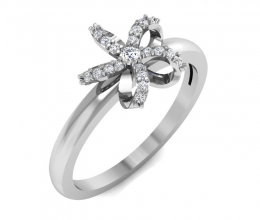 A delicate flower ring with diamonds