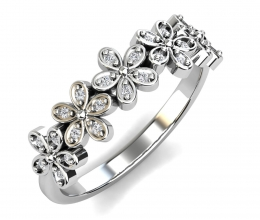 A delicate diamond ring with flowers