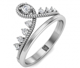 A delicate crown ring studded with diamonds