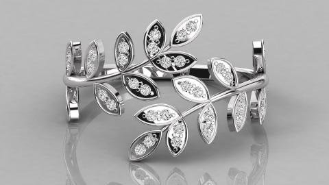 Diamond Leaf Spiral Ring