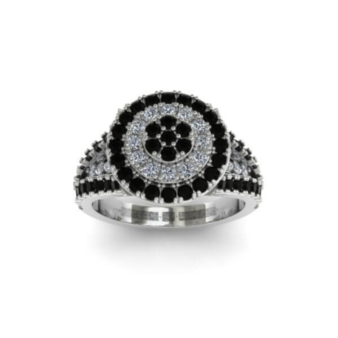 Luxury diamond ring for woman - black and white diamond combined