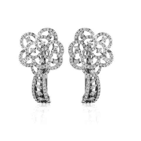 Vintage diamond studded flower earrings